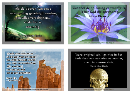 4 printklare postkaarten met Citaten van William Blake, Albert Einstein, Black Elk, Oglala Lakota, Thich Nhat Hanh.